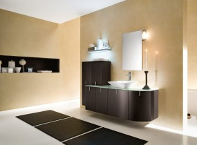 simple-led-light-bulb-above-the-dark-bathroom-cabinet-combined-with-dark-brown-carpets-on-the-white-ceramic-floor